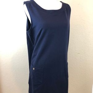 Susan Graver Large Dress Blue Knit Pockets